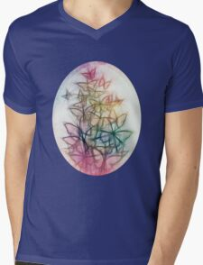 Rainbow Colored Butterfly Sketch Drawing Mens V-Neck T-Shirt