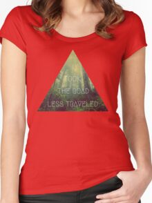 road less traveled nature explore travel redwood book wanderlust print Women's Fitted Scoop T-Shirt