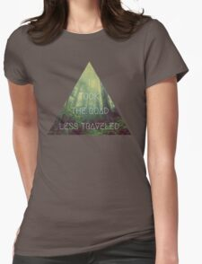 road less traveled nature explore travel redwood book wanderlust print Womens Fitted T-Shirt