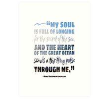 Secret of the Sea Longfellow Quote Art Art Print