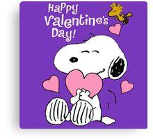 Happy Valentines Day Snoopy Canvas Print