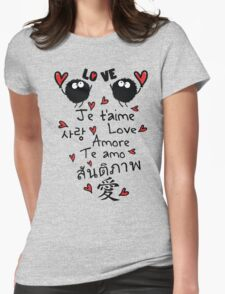 Love in many language Womens Fitted T-Shirt