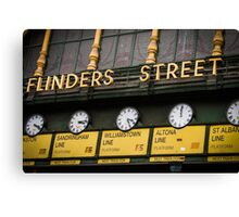 Clocks - Flinders Street - Melbourne Canvas Print