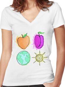 Peach, Plum, Earth, Sun Women's Fitted V-Neck T-Shirt