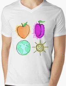 Peach, Plum, Earth, Sun Mens V-Neck T-Shirt