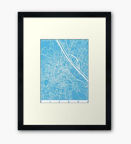 Vienna map blue Framed Print