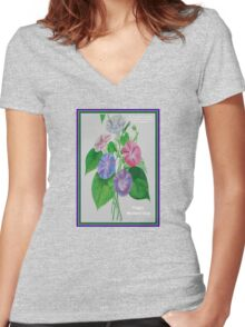 Happy Mothers Day Loving Nature And Delicate Words Women's Fitted V-Neck T-Shirt