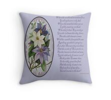 Clematis Greeting  With Poem Throw Pillow