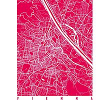 Vienna map raspberry Photographic Print