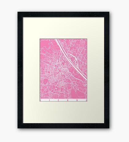 Vienna map pink Framed Print