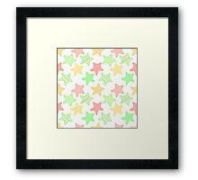 Doodle colorful stars pattern. Framed Print