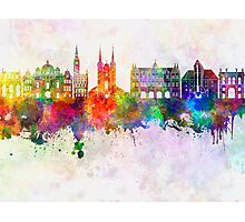 Gdansk skyline in watercolor background Photographic Print