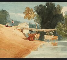 Attributed to John Sell Cotman Cows at a Pool, with Wooden Bridge by Adam Asar