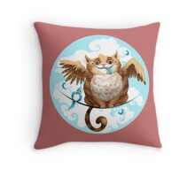 The Hungry Kitty Cat Throw Pillow