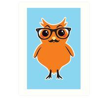 Kawaii Owl Hipster #01 Art Print