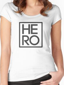 HERO BLACK AND WHITE SQUARE Women's Fitted Scoop T-Shirt