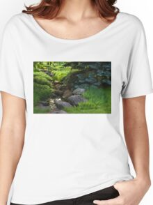 Impressions of Gardens - a Miniature Spring Creek Through the Fresh Green Women's Relaxed Fit T-Shirt