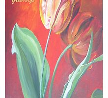 Mother's Day Greetings Red and Yellow Tulips by taiche