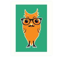 Kawaii Owl Hipster #02 Art Print