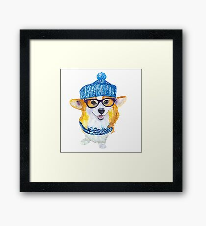 the corgi dog  Framed Print