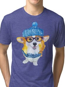 the corgi dog  Tri-blend T-Shirt