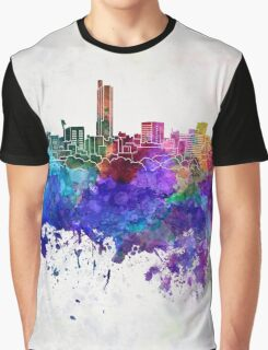 Hiroshima skyline in watercolor background Graphic T-Shirt