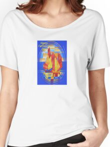 Happy Father's Day Sailing on the Seven Seas so Blue Cubist Abstract Women's Relaxed Fit T-Shirt