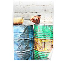 Oil Drums at a Garage Poster