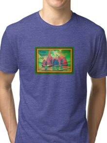 Happy Father's Day Sea of Green With Cubist Abstract Junks  Tri-blend T-Shirt