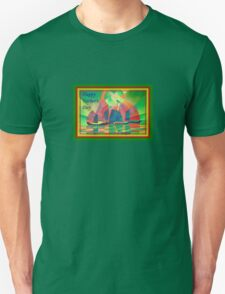 Happy Father's Day Sea of Green With Cubist Abstract Junks  T-Shirt