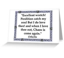 Excellent Wretch - Shakespeare Greeting Card