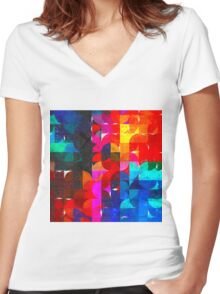 geometry impressionism Women's Fitted V-Neck T-Shirt