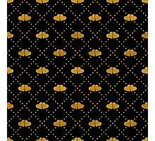 Golden hearts on black. Photographic Print