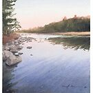 Maine lake watercolor by Mike Theuer
