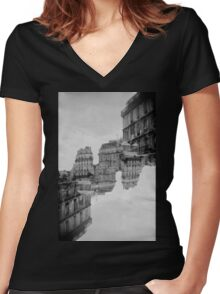 London Double #1 Women's Fitted V-Neck T-Shirt