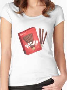 Japanese Pocky - chocolate  Women's Fitted Scoop T-Shirt