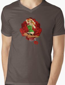 Ivy and Roses Pinup Mens V-Neck T-Shirt