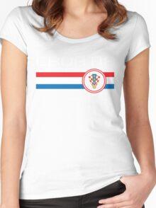 Euro 2016 Football - Croatia (Away Blue) Women's Fitted Scoop T-Shirt