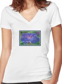A Very Special Mother Deep Purple Morning Glory Women's Fitted V-Neck T-Shirt