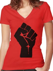 Fist of Resistance - Stencil Print Women's Fitted V-Neck T-Shirt