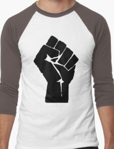 Fist of Resistance - Stencil Print Men's Baseball ¾ T-Shirt