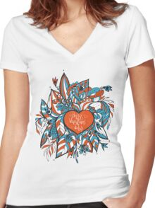 sketchy love and hearts doodles, vector illustration Women's Fitted V-Neck T-Shirt