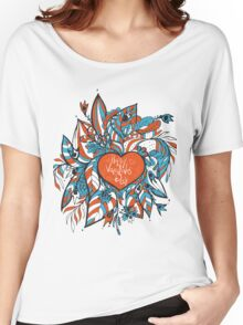 sketchy love and hearts doodles, vector illustration Women's Relaxed Fit T-Shirt