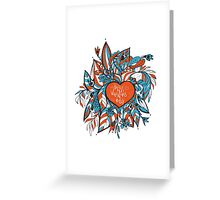 sketchy love and hearts doodles, vector illustration Greeting Card