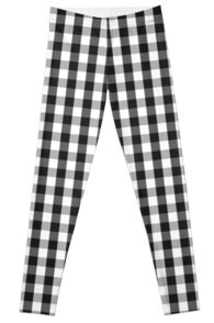Garden Sludge Grey Mini Gingham Check Plaid Leggings