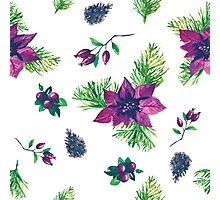 Christmas botanical watercolor pattern Photographic Print