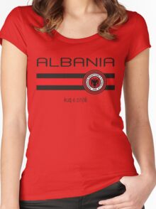 Euro 2016 Football - Albania (Home Red) Women's Fitted Scoop T-Shirt