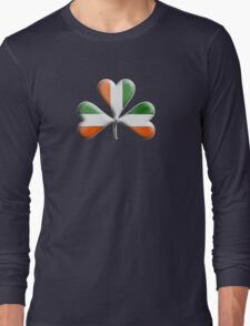 Ireland Flag Colours Shamrock Leaves Long Sleeve T-Shirt