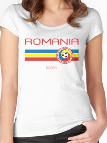 Euro 2016 Football - Romania (Home Yellow) Women's Fitted Scoop T-Shirt