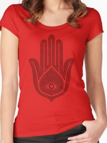 Floral Hamsa Black Women's Fitted Scoop T-Shirt